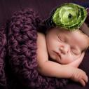 Un bébé portant une fleur verte